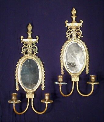 Pair Of Double Arm Solid Brass Mirror Back Candle Sconces With Flame Urn Finial