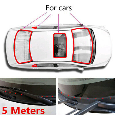 """5M 196"""" Waterproof Rubber Seal Weather Strip Trim For Car Front/Rear Windshield"""