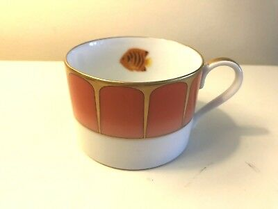 LYNN CHASE Designs Flat Cup Coral Seas 2004 24 Carat Gold Coffee Mug China Fish