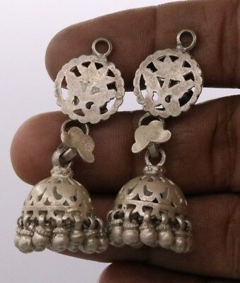 Handmade Vintage Antique Ethnic Old Silver Tribal Earring Belly Dance E-16