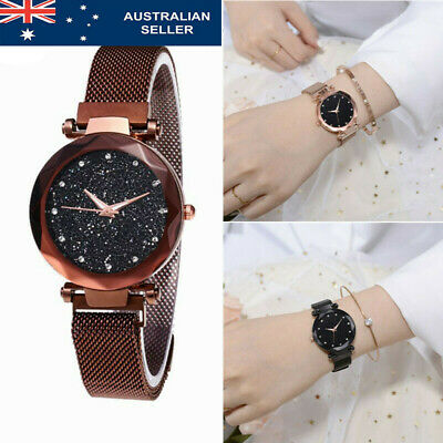 AU Women Magnetic Stainless Watch Waterproof Starry Sky Watch Steel Strap Band