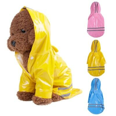 AU Dog Hooded Raincoat Pet PU Waterproof Jacket Puppy Outwear Clothes Costume