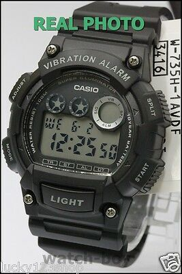 W-735H-1A Black Casio Men's Watches Digital Vibration Sport 100m Resin Band New
