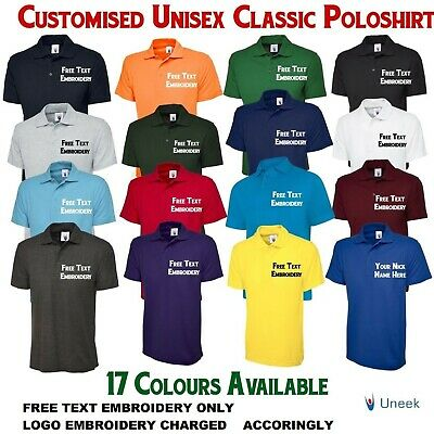 Uneek Embroidered Unisex Polo Shirt,17 Colours (S-6XL) Work Wear Causal Top