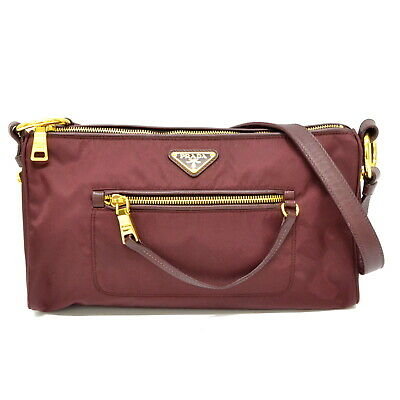 eb7ce002e91d Authentic Prada Nylon Leather Shoulder Hand Bag Bordeaux Gold Italy