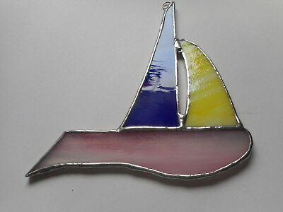 Stained Glass Sail Boat Suncatcher or Wall Mount.