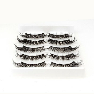New 5Pairs 3D Fake Eyelashes Long Thick Natural False Eye Lashes Set Mink Makeup
