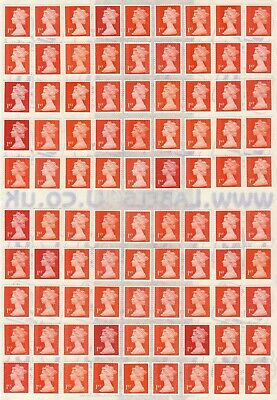 100 x 1ST CLASS UNFRANKED RED SECURITY STAMPS WITH GUM ON EASY PEEL SHEET