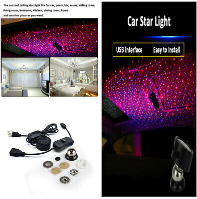 Red+Blue LED Car Night Lights Projector Ambient Atmosphere Light  Ceiling Decor