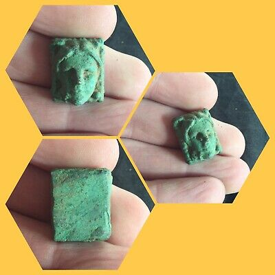 Rare ancient Roman bronze face mount , 2nd to 4th Century ad