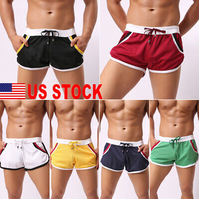 6f73304593e US Mens Swim Fitted Shorts Bodybuilding Workout Gym Running Tight Lifting  Shorts