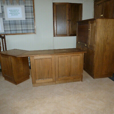 Oak Office Computer desk with drawers and storage Solid construction.