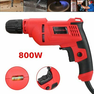 """1/2"""" 800W Electric Drill Rotary Tools Kit Corded Hammer Drill Red MA"""