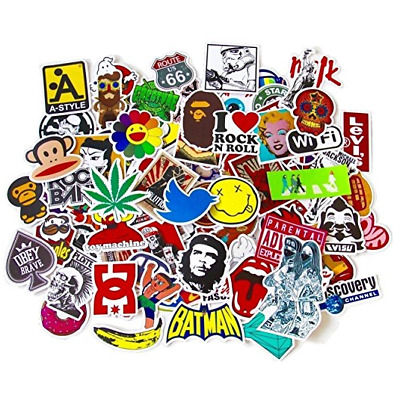 100pcs Pack Cool Vinyl Waterproof Sticker Skateboard Pad Laptop Car Snowboard