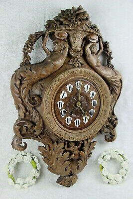 RARE Antique BLACK FOREST wood carved mermaids putti caryatid clock German
