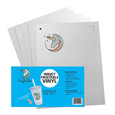 "Craftables Inkjet Printable Vinyl for Stickers. 5 8.5""x11"" Sheets"