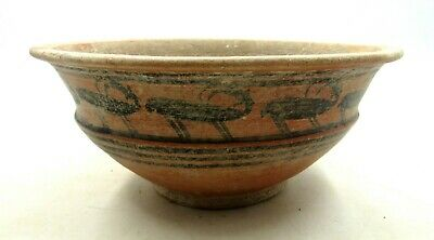Authentic Ancient Indus Valley Terracotta Bowl W/ Deer - L416
