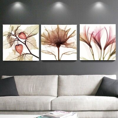 Wall Art Abstract Brown Flower Canvas Art Floral Picture Painting Print Framed
