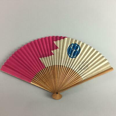 Japanese Folding Fan Vtg Sensu Paper Bamboo Japanese Family Crest 4D256