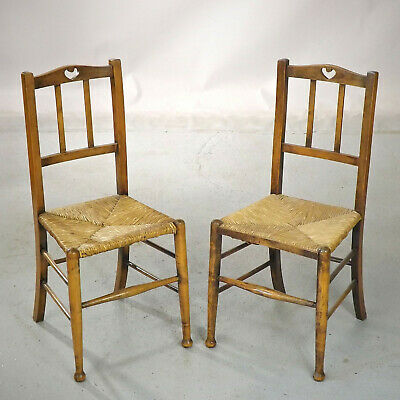 Arts & Crafts Chairs - a Pair - Rush Seats (delivery available £40)