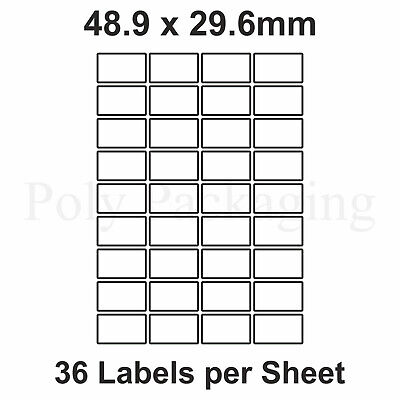 A4 Printer Labels(36 PER SHEET)(48.9x29.6mm)Plain Self Adhesive Address Sticky
