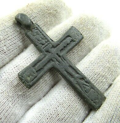 Authentic Late Medieval Era Bronze Cross Pendant - Wearable - J747