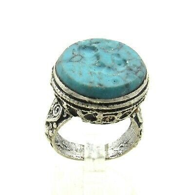 Authentic Post Medieval Era Silver Ring W/ Intaglio Stone Beast - J757