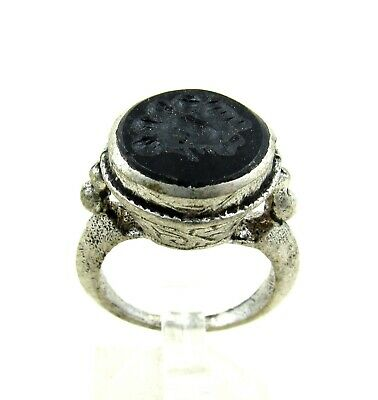 Authentic Post Medieval Era Silver Ring W/ Intaglio Stone Bust - J759