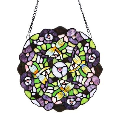 "Stained Glass Dragonfly Pansy Round Window Panel Tiffany Style 12"" x 12"""