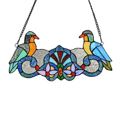 "Perch Birds Tiffany-style Stained Glass Window Panel 7"" H x 15.7"" L Handcrafted"