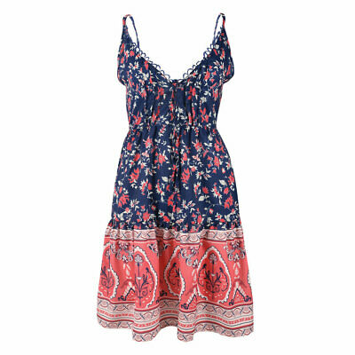 Ladies Summer Floral Swing Dress Short Mini Strappy Sexy Lace Evening Sundress