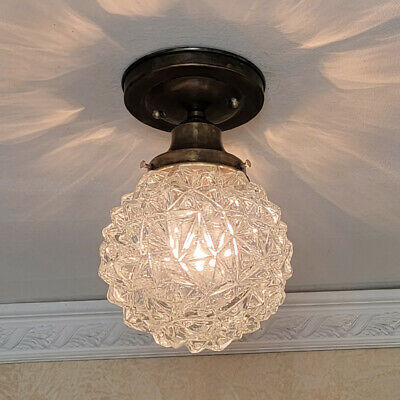 615 Vintage arT Deco Glass Ceiling Light Fixture  hall  porch bath 1 of 2