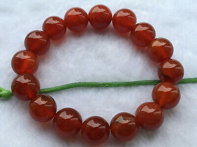 .New Natural Red Agate 12MM Bead Bracelet AAA+