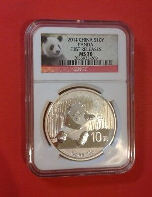 NGC China 1 Ounce Silver 2014 10 Yuan Panda MS70 Red Label First Release Perfect