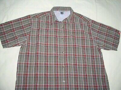 57bbc1683 THE NORTH FACE Shirt Short Sleeve Button Up Checked Olive Green ...