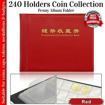 240 Coin Collection Album Money Storage Case Holder Coin Collecting Book Red