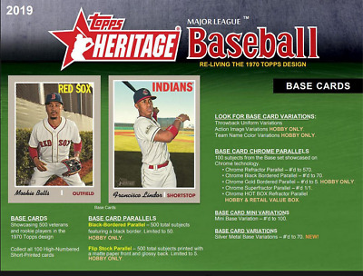 2019 TOPPS HERITAGE 5 Box Hobby Case Break PICK YOUR TEAM! Jabs Family BREAK F
