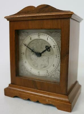 Vintage Miniature Bracket Clock 8 Day English Walnut Bracket Clock Silver Dial