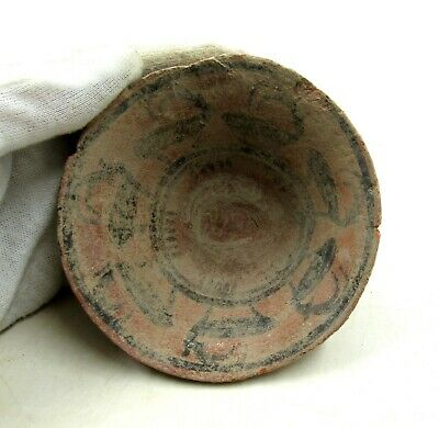 Authentic Ancient Indus Valley Terracotta Bowl W/ Deer - L438