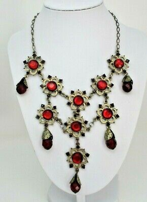 Robert Rose NECKLACE Red Dangles Victorian Style Gothic Tarnished Signed