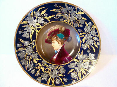 Antique Hand Painted German Ceramic Chrger, Silver Decoration Made In 1880Th.