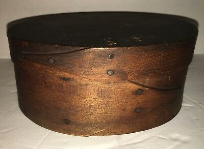 Original small antique SHAKER Oval Band Box.  Early Shaker Pantry Box.  aafa