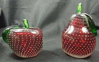 MURANO BARBINI Red APPLE & PEAR Controlled Bubble BOOKENDS Mid-Century paperweig