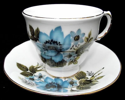 Queen Anne Fine Bone China Teacup and Saucer - Blue & White Flowers - ENGLAND
