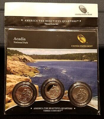 2012 Acadia National Park ATB 3-coin set National Forest US Mint quarters Set
