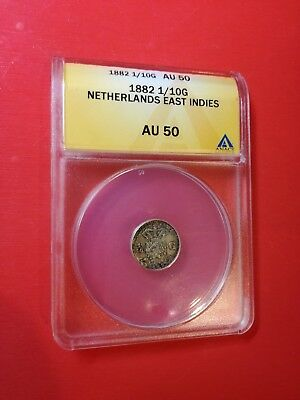 1882 Netherlands East Indies 1/10 Gulden Silver ANACS AU 50