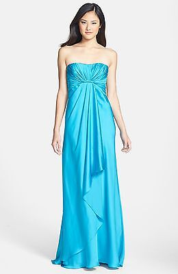 NWT Monique Lhuillier Strapless Blue  Wrap Style Skirt Bridesmaid Gown Size 0
