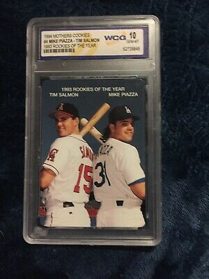 1994 Mothers Cookies Mike Piazza Tim Salmon Rookie Card