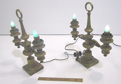 2 Antique Colonial Moorish Victorian Brass Electric Lead Weighted Mantel Lights
