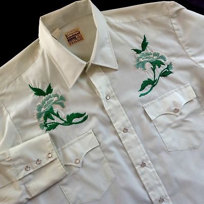 Vtg Montgomery Ward Green Western Shirt Embroidered Flowers 16-1/2 34
